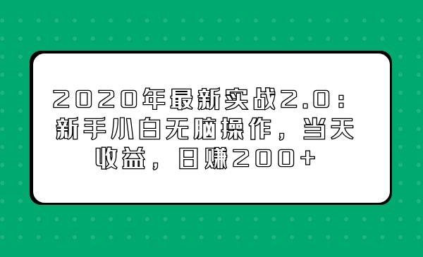 2020年最新实战2.0:新手小白无脑操作,当天收益,日赚200+插图